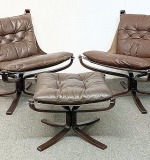 52. Pair Vatne Falcon Leather Sling Chairs & Ottoman | $1,353