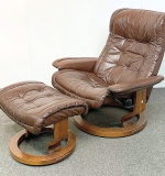 97. Ekornes Stressless Leather Lounge Chair & Ottoman | $265.50