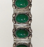 147. Mexican Sterling Bracelet with Green Cabochons | $49.20
