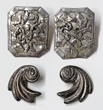 159. Two Pairs of Modernist Sterling Earrings | $11.80