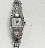172. Ladies 14K, Platinum, and Diamond Bulova Watch | $461.25