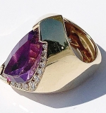 174. Cornelis Hollander 14K Diamond and Amethyst Ring | $399.75