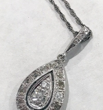 175G. Teardrop-shaped Diamond Pendant with Chain | $236