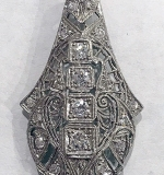 175I. Platinum Art Deco Diamond Pendant | $413