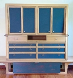 180. Custom Oak and Leather Cabinet | $1,168.50