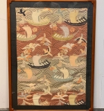325. Asian Embroidered Panel with Boats and Birds |  $72