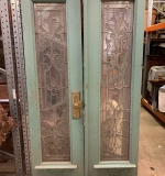 370. Pair of Painted Wood Doors w/Leaded Glass Inserts |  $687.50