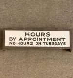"389. ""Hours By Appointment"" Painted Glass Sign 