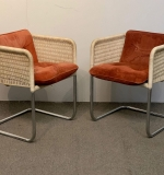 394. Pair of Tubular Chrome and Resin Wicker Chairs |  $187.50