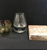 427. Decorative Modern Lot: Two Vases and Cigar Ashtray |  $62.50