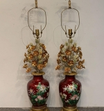 505. Pair of Cloisonne and Applied Floral Table Lamps |  $360
