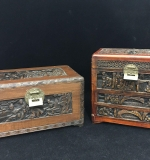 49. Two Carved Wood Chinese Boxes with Brass Locks |  $54