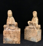 96. Pair of Carved Soapstone Guanyin Figures |  $72