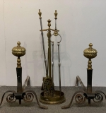 116. Pair of Brass & Iron Andirons and Fireplace Tools |  $343.75