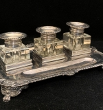 119. 19th C. Georgian Glass and Silver Inkstand |  $510