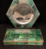 120. Taxco Stone Inlaid Dish and Box |  $112.50