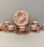 "127. 22 pcs. Royal Crown Derby ""Red Aves"" China 