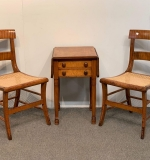 135. 2 Federal Tiger Maple Chairs and Drop-leaf Stand |  $112.50