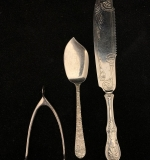 208. Three Sterling Articles: Wishbone; 2 Fish Slices |  $120