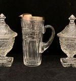 210. 3 Pcs. Hawkes Glass: Pitcher, 2 Candy Jars |  $218.75