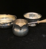 211B. 3 Sterling Silver Articles: Sauce Pot & Two Bowls |  $210