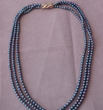 220. 3-Strand Black Pearl Necklace with 14K Clasp |  $312.50