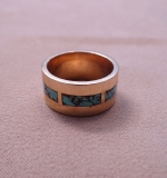 224. 14K Yellow Gold Band Ring with Turquoise Inlay |  $420