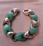 225. 14K Bracelet with Green Jade & Yellow Gold Links |  $2,125