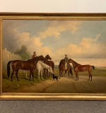 256. 19th C. Oil/Canvas Equestrian Landscape With Dog |  $3,250.00