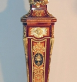 Louis XVI-style Long Case Clock in Mahogany with Gilt Bronze Accents. $8,260