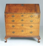 18th C. New England Queen Anne Tiger-Maple Slant-Front Desk. $15,340
