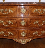 French Louis XV Marquetry-inlaid Kingswood Bombé Commode. $5,900