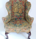 Circa 1760 Chippendale Mahogany Wing Chair with Needlepoint Upholstery. $10,030