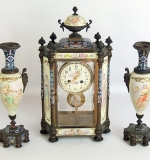 Late 19th C. French Tiffany & Co. 3-pc. porcelain & enamel clock garniture set. $14,520