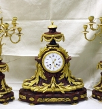 Ornate 19th C. French gilt bronze & marble 3-pc clock garniture set, Raingo Frères, Paris. $11,800