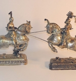 Two German 800 Silver Jousting Knights with unidentified markings. $6,050
