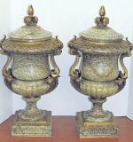 Pair of French Marble Urns with Gilt Bronze Mounts. $6,490