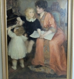 Marie Languereau Oil/Canvas, Mother with Children. $8,850