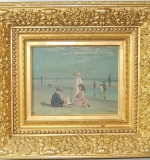 19th C. Oil/Board, Genre Scene with Children. $5,808