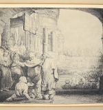 Rembrandt Van Rijn, Etching, Peter and John Healing Cripple at Gate of the Temple. $6,050