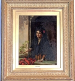 William Maw Egley, Oil on Canvas, portrait of a lady at window. $8,732