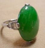Jade and Diamond Ring set in Platinum. $4,255