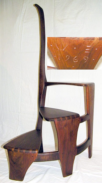 Wharton Esherick 1969 walnut spiral library steps. $119,600