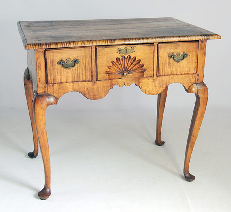 18th C. (c. 1730-1760) New England Tiger-Maple Lowboy. $11,800