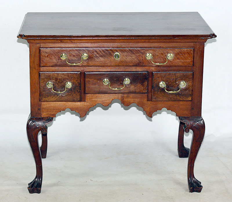Chippendale Mahogany Lowboy on Cabriole Legs, Duck Feet. $8,260