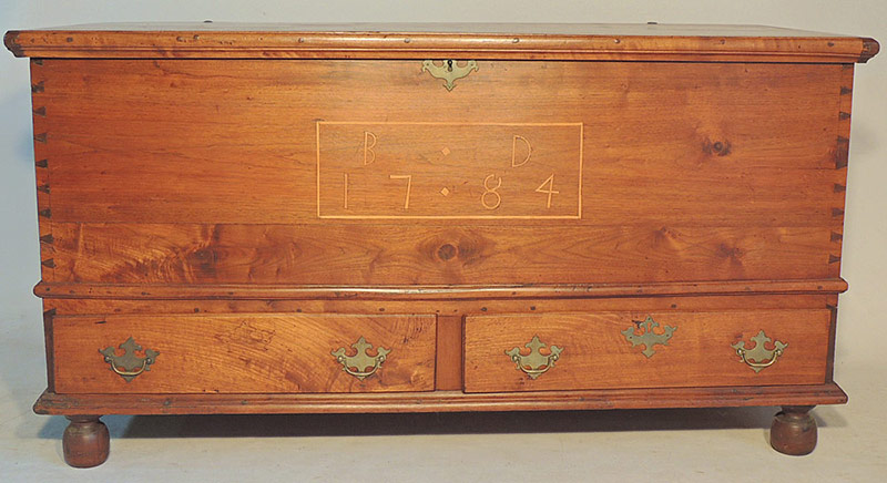 Pennsylvania Blanket Chest, initialed BD, and dated 1784. $2,596