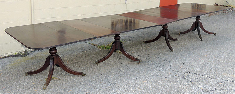 Georgian Banquet Table with Brass-tipped Paw Feet. $6,655