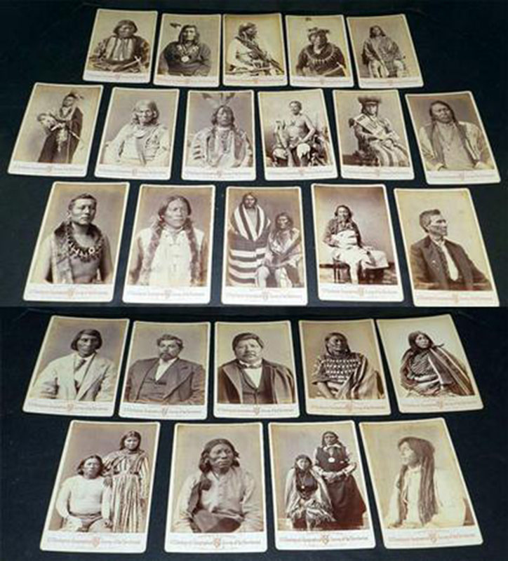 Lot of 25 cabinet cards depicting various American Indians. $14,950
