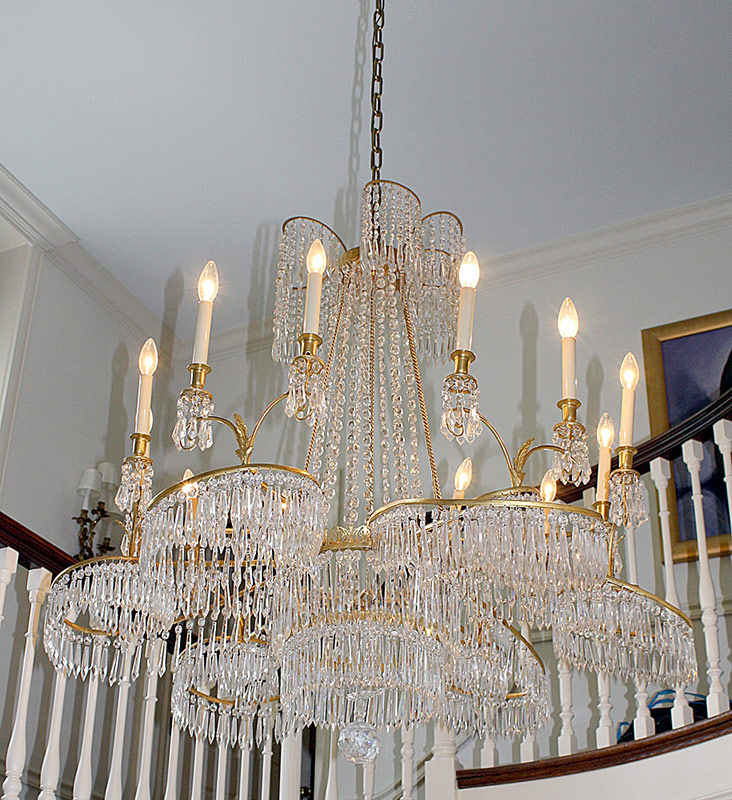 Crystal and gilt bronze 12-light chandelier. 45 x 45 in. $9,440