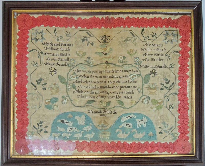 19th C. Needlework Sampler, dated 1830. Hannah Bittle. $17,700